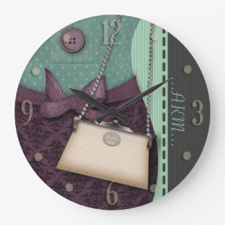 Cute Boutique Retro Outfit and Handbag Large Clock