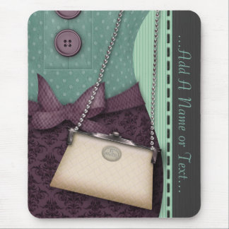 Cute Boutique Retro Outfit and Handbag Mouse Pad