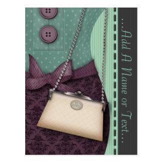 Cute Boutique Retro Outfit and Handbag Postcard