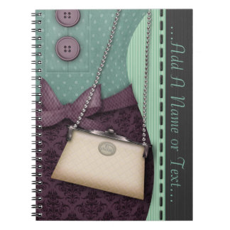 Cute Boutique Retro Outfit and Handbag Spiral Notebook