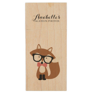 Cute Bow Tie and Glasses Brown Fox Custom Wood Flash Drive