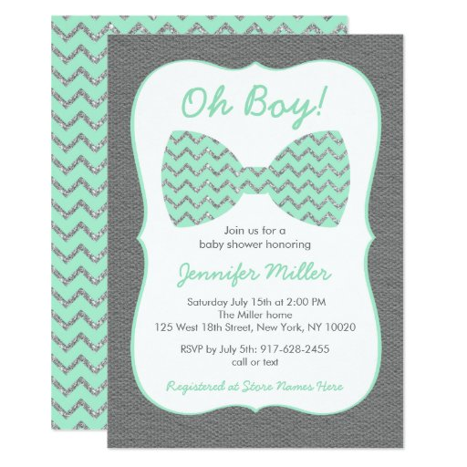 Cute Bow Tie Baby Shower Invitations Mint & Silver