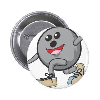 Cute Bowling Ball Player Button