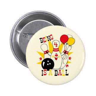 Cute Bowling Pin Birthday Button