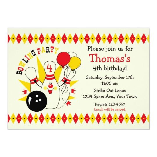 Cute Bowling Pin Birthday Invitation