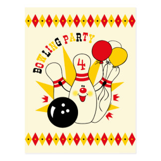 Cute Bowling Pin Birthday Invitation Postcard