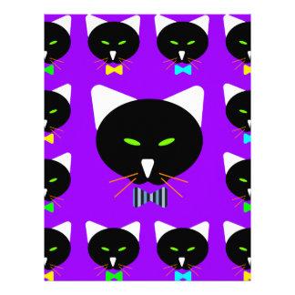 """Cute Bowtie Black Cat On Purple 8.5"""" X 11"""" Flyer"""
