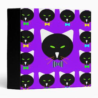 Cute Bowtie Black Cat On Purple Binder