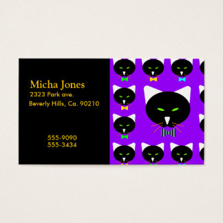 Cute Bowtie Black Cat On Purple Business Card