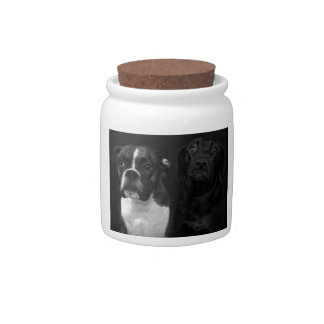 Cute Boxer and Black Lab Candy Dishes