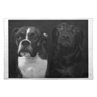 Cute Boxer and Black Lab Cloth Placemat