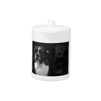 Cute Boxer and Black Lab Teapot