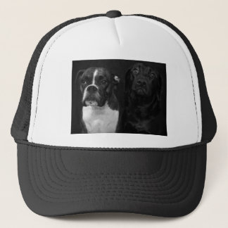 Cute Boxer and Black Lab Trucker Hat