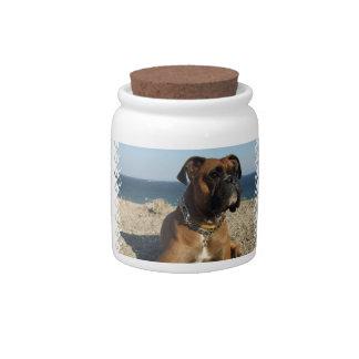 Cute Boxer Dog  Candy Jar