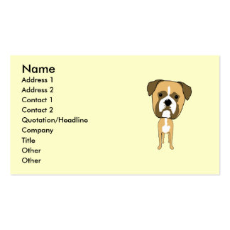 Cute Boxer Dog Cartoon Double-Sided Standard Business Cards (Pack Of 100)