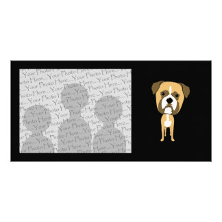 Cute Boxer Dog Cartoon Photo Card