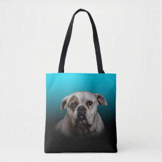 Cute Boxer Dog w Blue Black Gradient background Tote Bag
