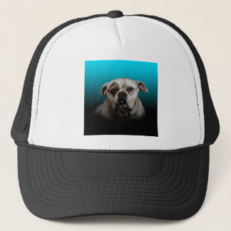 Cute Boxer Dog w Blue Black Gradient  background Trucker Hat