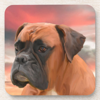 Cute Boxer Dog Water Color Oil Painting Art Coaster