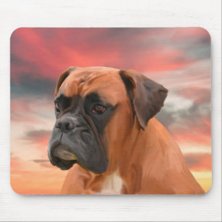 Cute Boxer Dog Water Color Oil Painting Art Mouse Pad