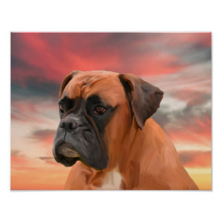 Cute Boxer Dog Water Color Oil Painting Art Poster