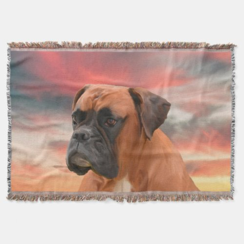 Cute Boxer Dog Water Color Oil Painting Art Throw Blanket