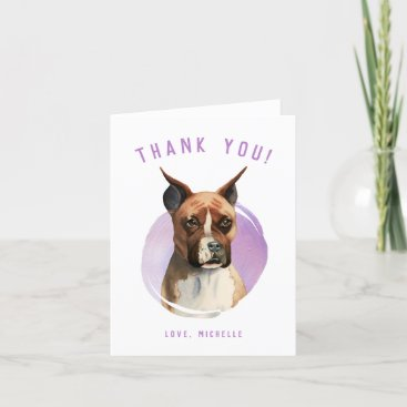 Cute Boxer Dog Watercolor Painting Thank You Card