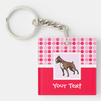 Cute Boxer Double-Sided Square Acrylic Keychain