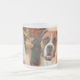 Cute Boxer 10 Oz Frosted Glass Coffee Mug