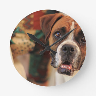 Cute Boxer Round Clock