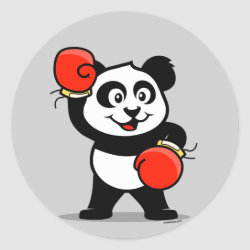Round Sticker with Cute Boxing Panda design