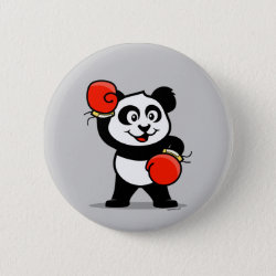Round Button with Cute Boxing Panda design