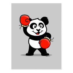 Postcard with Cute Boxing Panda design