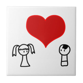 Cute boy and girl in love doodle tile