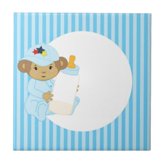 Cute Boy Baby Monkey Holding A Bottle Small Square Tile