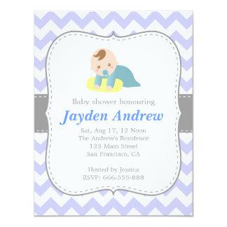 Cute Boy Baby Shower, Blue and White Chevron 4.25x5.5 Paper Invitation Card