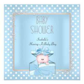 Cute Boy Baby Shower Blue White Polka Dots Custom Invitation