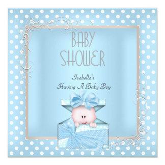 Cute Boy Baby Shower Blue White Polka Dots 5.25x5.25 Square Paper Invitation Card