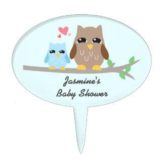 Cute Boy Baby Shower Owl Cake Topper