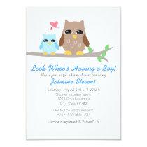 Cute Boy Baby Shower Owl Card
