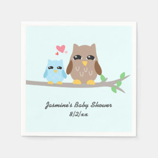 Cute Boy Baby Shower Owl Paper Napkin