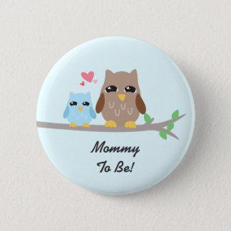 Cute Boy Baby Shower Owl Pinback Button