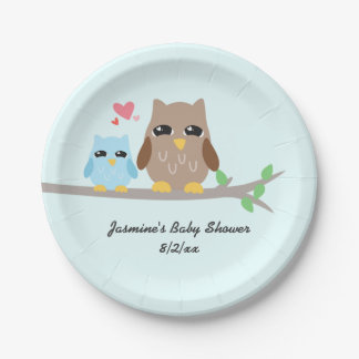 Cute Boy Baby Shower Owl 7 Inch Paper Plate