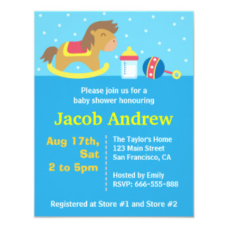 Cute Boy Baby Shower, Rocking Horse, Blue 4.25x5.5 Paper Invitation Card