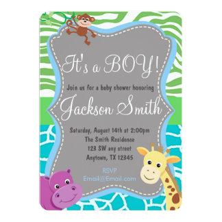 Cute Boy Baby Shower Zoo Animal Invitation