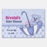 Cute Boy Bear Umbrella Baby Shower - Personalize Lawn Signs