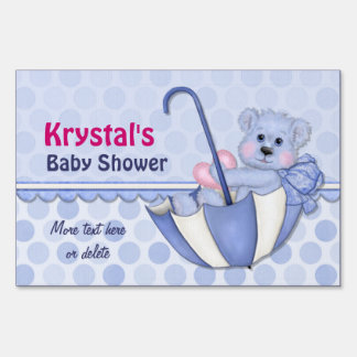 Cute Boy Bear Umbrella Baby Shower - Personalize Signs