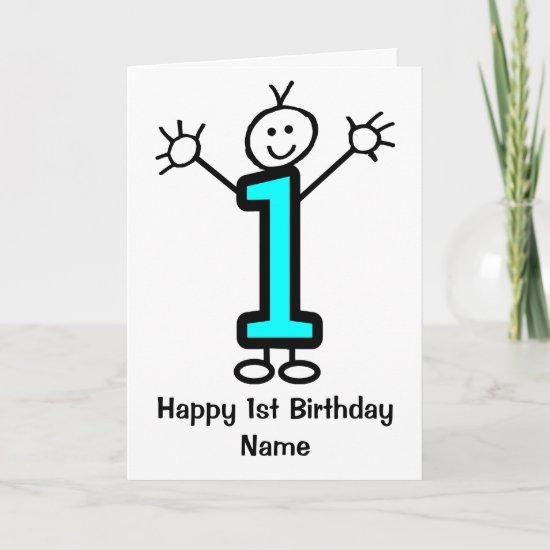 Cute Boy Blue 1st Birthday Card
