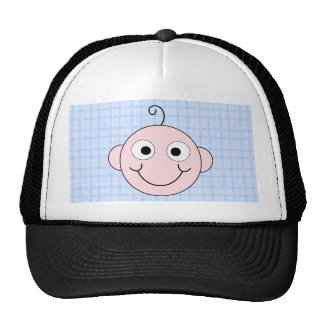 Cute Boy. Blue Check Background. Trucker Hat