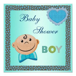 Cute Boy Blue Giraffe Animal Print Baby Shower Custom Invitations